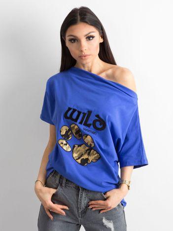 Ciemnoniebieska bluzka z motywem zwierzęcym