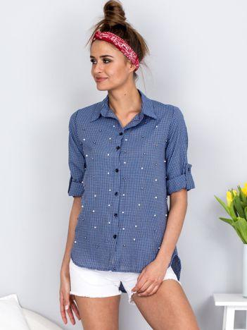 Ciemnoniebieska koszula w kratę z perełkami