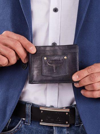 Ciemnoniebieski męski portfel z naszywką