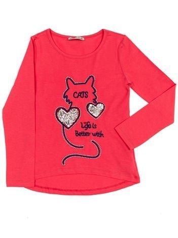 Ciemnoróżowa bawełniana bluzka dziecięca z kotem i cekinami
