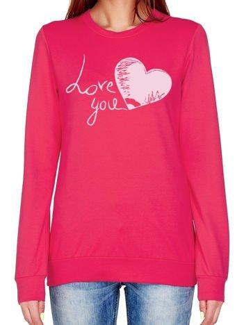 Ciemnoróżowa bluza z napisem LOVE YOU