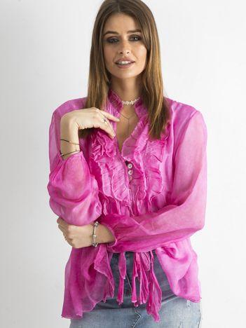 Ciemnoróżowa bluzka z żabotem