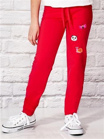 Ciemnoróżowe spodnie dresowe dla dziewczynki ze zwierzątkami