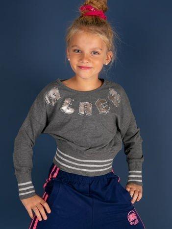 Ciemnoszara bluza dla dziewczynki ze ściągaczami