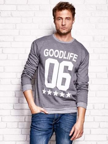 Ciemnoszara bluza męska z napisem GOODLIFE 06
