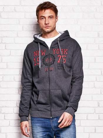 Ciemnoszara bluza męska z nowojorskimi motywami