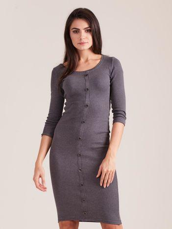 Ciemnoszara dopasowana prążkowana sukienka