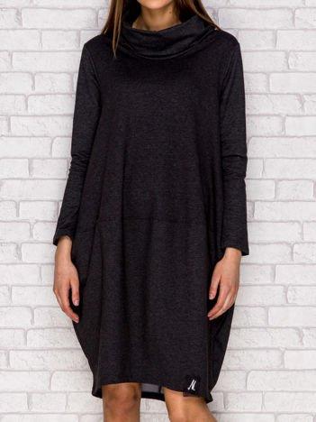 Ciemnoszara dresowa sukienka oversize