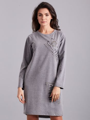 Ciemnoszara dresowa sukienka ze zdobieniami