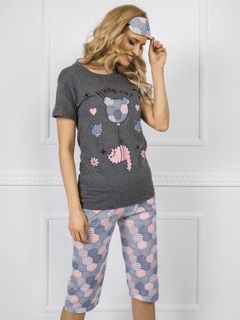 Ciemnoszara piżama damska z krótkim rękawem