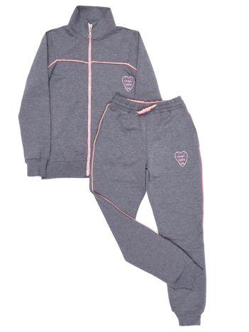 Ciemnoszary dresowy komplet dla dziewczynki spodnie i bluza