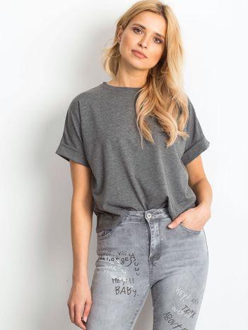 Ciemnoszary melanżowy t-shirt Woodland