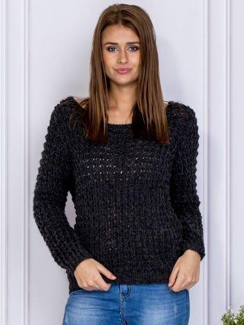 Ciemnoszary sweter damski z dzianiny