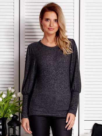Ciemnoszary sweter z marszczeniami na rękawach