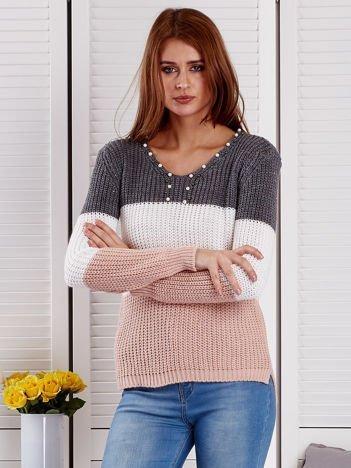 Ciemnoszary sweter z perełkami