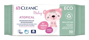 """Cleanic Baby Eco Chusteczki nawilżane dla niemowląt i dzieci Atopic - biodegradowalne  1op.-50szt"""""""