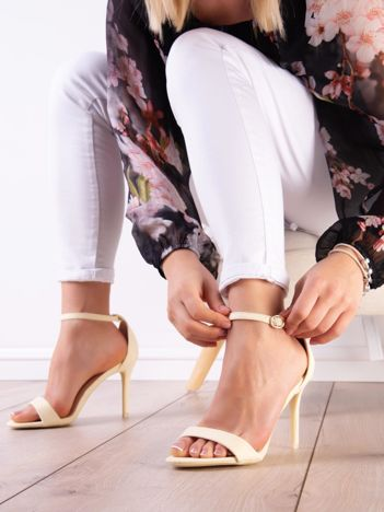 Cytrynowe sandały z eco zamszu ze złotą sprzączką
