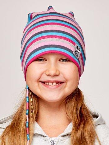 Czapka dziewczęca w paski z naszywką LOVE niebiesko-różowa