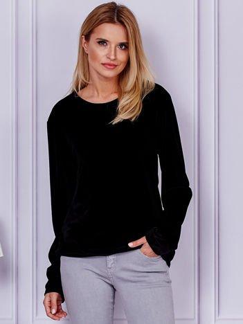 Czarna aksamitna bluza ze ściągaczami