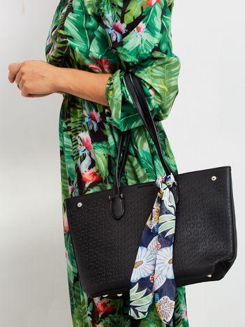 Czarna ażurowa torba shopper