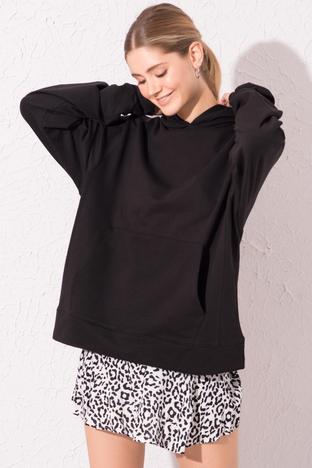 Czarna bluza kangurka z kapturem BSL