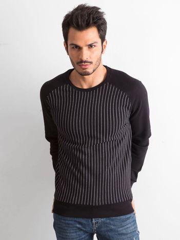 Czarna bluza męska w prążki