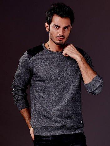 Czarna bluza męska ze skórzanymi wstawkami FUNK N SOUL