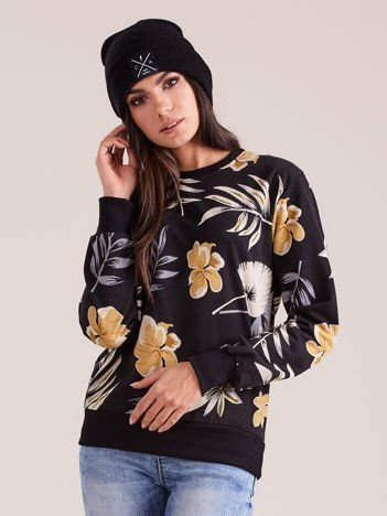 Czarna bluza z roślinnym nadrukiem