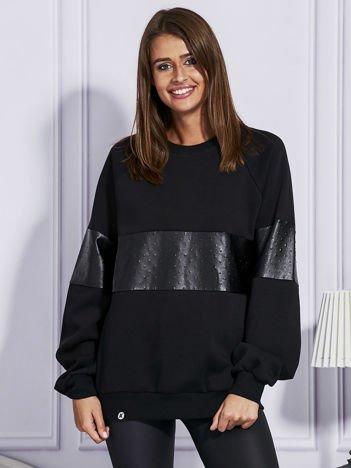 Czarna bluza ze skórzanymi wstawkami