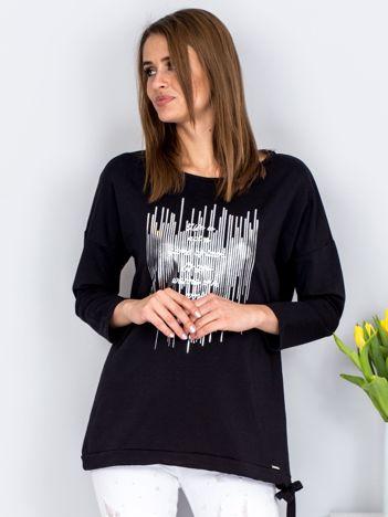 Czarna bluza ze srebrnym printem i wiązaniem
