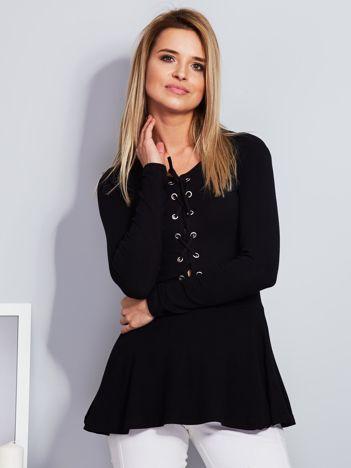 Czarna bluzka lace up z baskinką