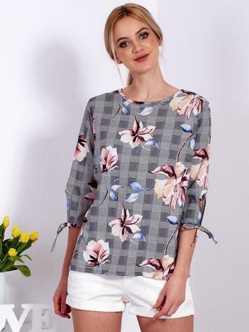Czarna bluzka z motywem kraty i kwiatów
