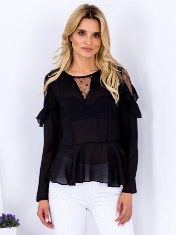 Czarna bluzka z siateczkowymi wstawkami