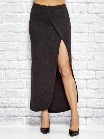 Czarna długa melanżowa spódnica z rozcięciem