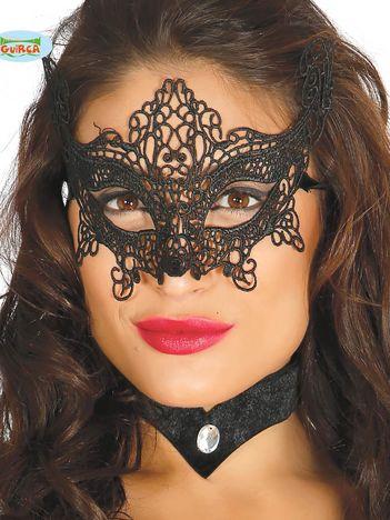 Czarna koronkowa maska na imprezę