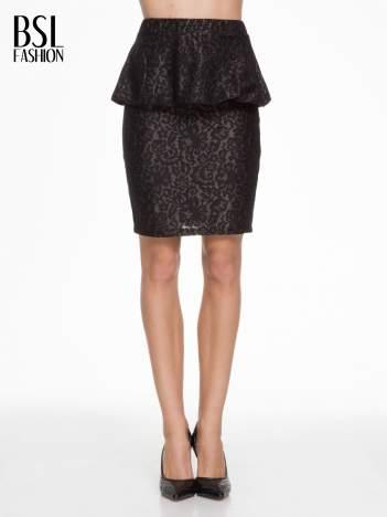 Czarna koronkowa mini spódnica z baskinką