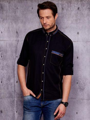 Czarna koszula męska z podwijanymi rękawami