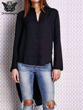 Czarna koszula mgiełka z dłuższym tyłem