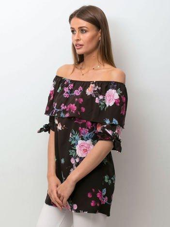 Czarna kwiatowa bluzka hiszpanka