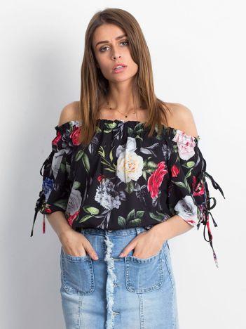 Czarna kwiatowa bluzka hiszpanka z ściągaczem