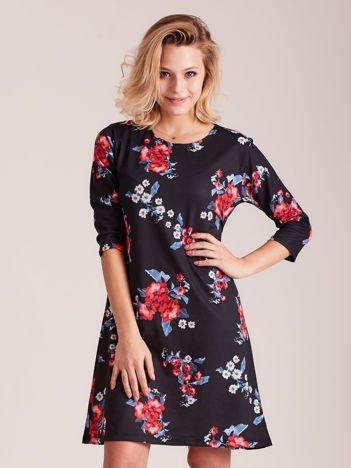 Czarna kwiatowa sukienka damska