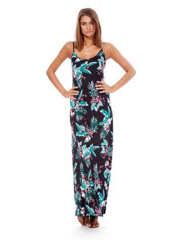 Czarna maxi sukienka na ramiączkach z tropikalnym nadrukiem