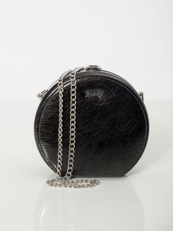 Czarna okrągła torebka ze skóry