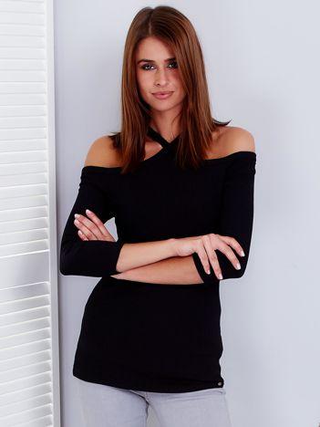 Czarna prążkowana bluzka damska