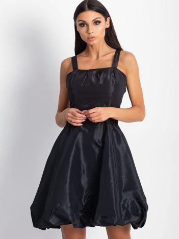 Czarna satynowa sukienka z kokardą