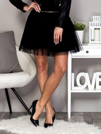 Czarna spódnica z tiulem i suwakiem