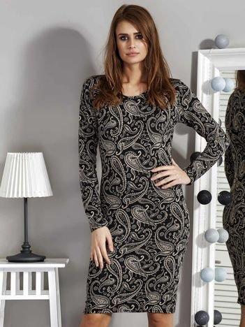 Czarna sukienka damska we wzór paisley