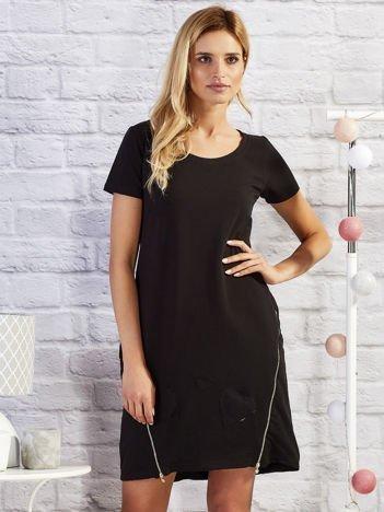 Czarna sukienka dresowa z suwakami