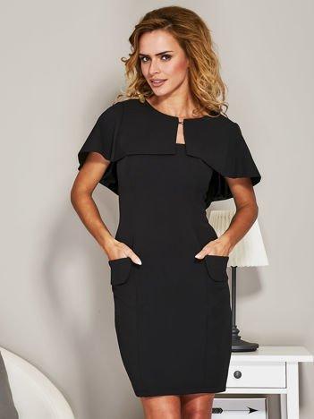 Czarna sukienka koktajlowa z narzutką