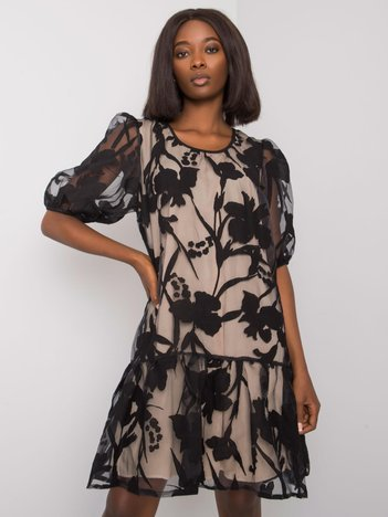 Czarna sukienka z falbaną Denitsa